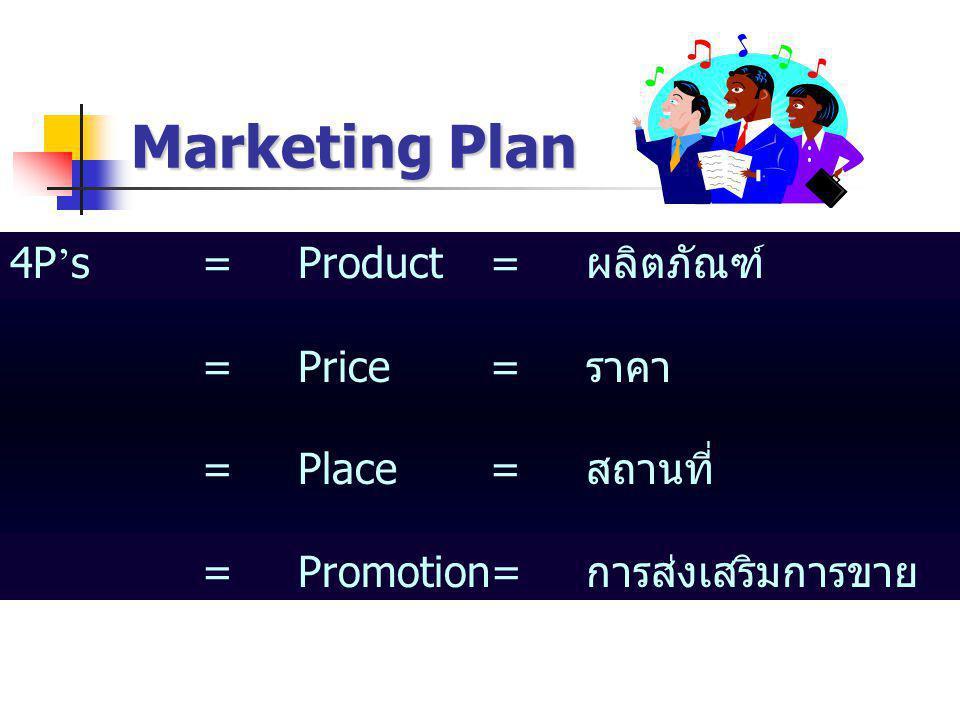 Marketing Plan 4P ' s=Product=ผลิตภัณฑ์ =Price=ราคา =Place=สถานที่ =Promotion=การส่งเสริมการขาย