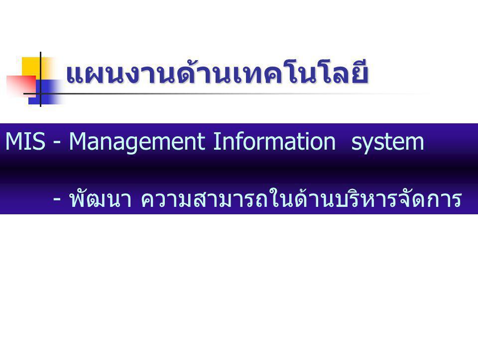 แผนงานด้านเทคโนโลยี MIS- Management Information system - พัฒนา ความสามารถในด้านบริหารจัดการ