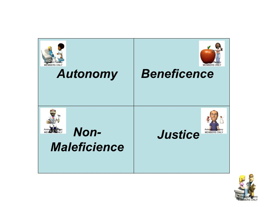 AutonomyBeneficence Non- Maleficience Justice