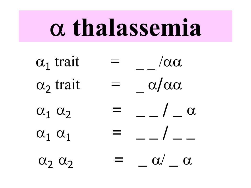 a thalassemia  1 trait=_ _ /   2 trait=_  /   1  2 =_ _ / _   1  1 =_ _ / _ _  2  2 =_  _ 