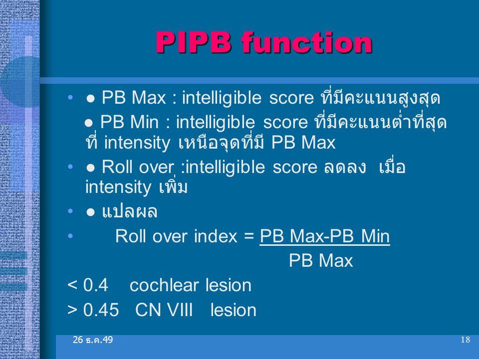 26 ธ. ค.49 18 PIPB function ● PB Max : intelligible score ที่มีคะแนนสูงสุด ● PB Min : intelligible score ที่มีคะแนนต่ำที่สุด ที่ intensity เหนือจุดที่