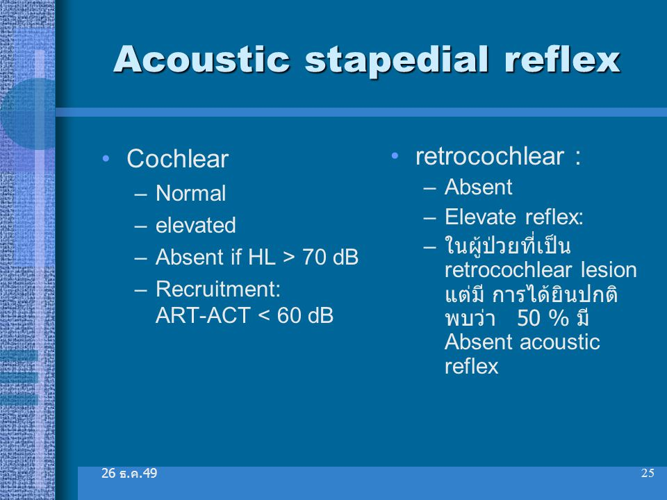 26 ธ. ค.49 25 Acoustic stapedial reflex Cochlear –Normal –elevated –Absent if HL > 70 dB –Recruitment: ART-ACT < 60 dB retrocochlear : –Absent –Elevat