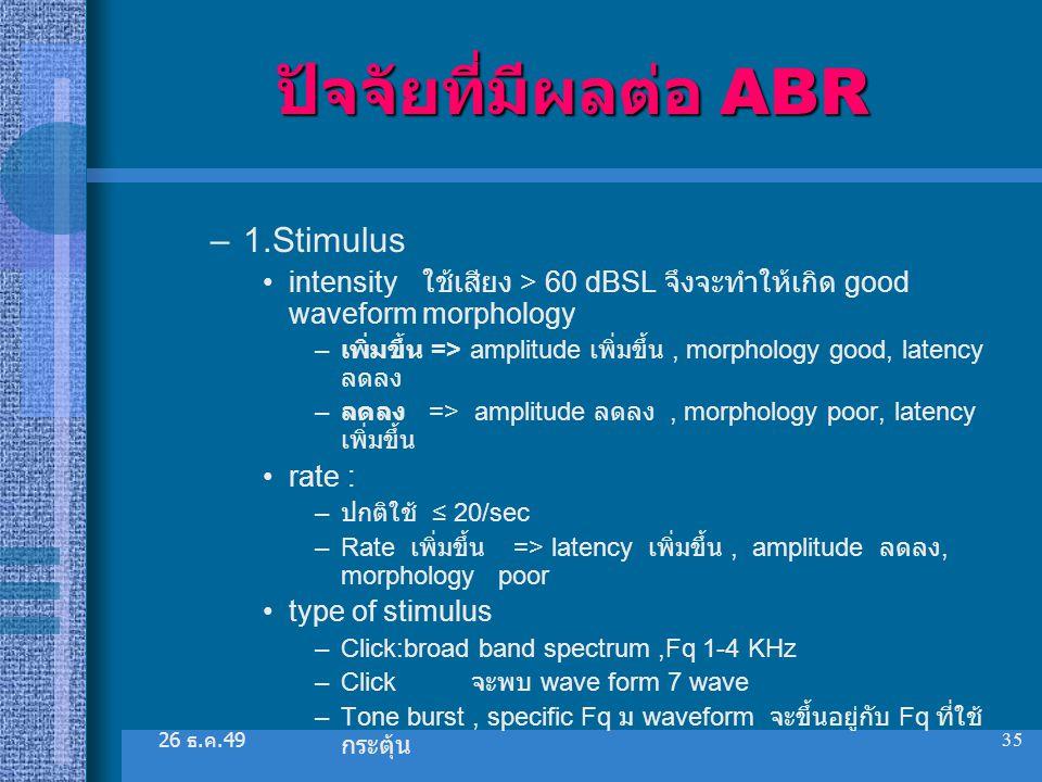 26 ธ. ค.49 35 ปัจจัยที่มีผลต่อ ABR –1.Stimulus intensity ใช้เสียง > 60 dBSL จึงจะทำให้เกิด good waveform morphology – เพิ่มขึ้น => amplitude เพิ่มขึ้น
