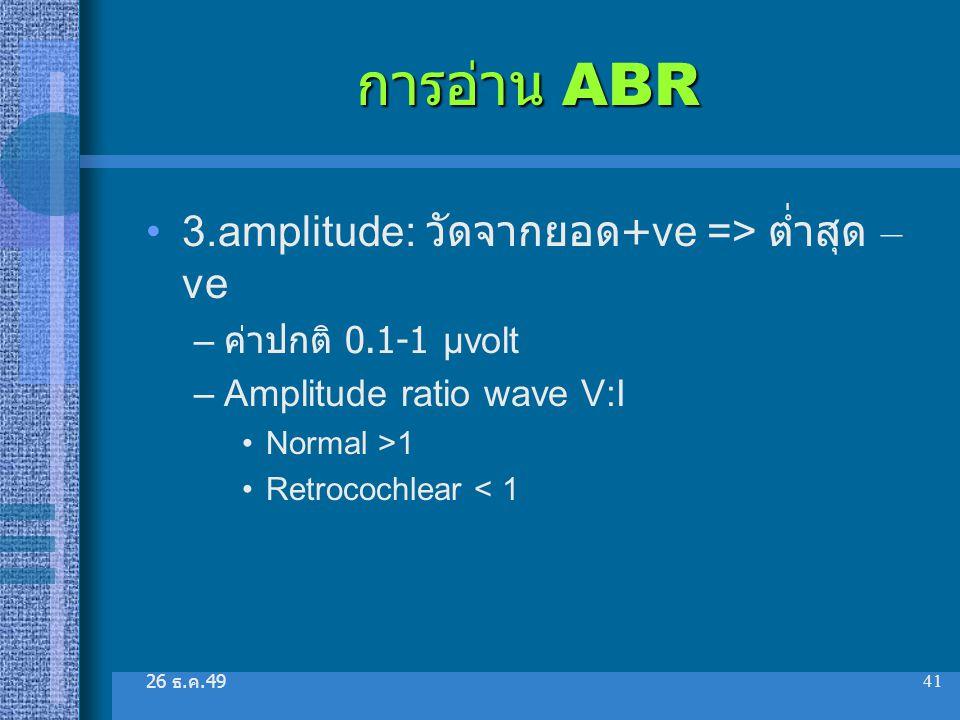 26 ธ. ค.49 41 การอ่าน ABR 3.amplitude: วัดจากยอด +ve => ต่ำสุด – ve – ค่าปกติ 0.1-1 µvolt –Amplitude ratio wave V:I Normal >1 Retrocochlear < 1