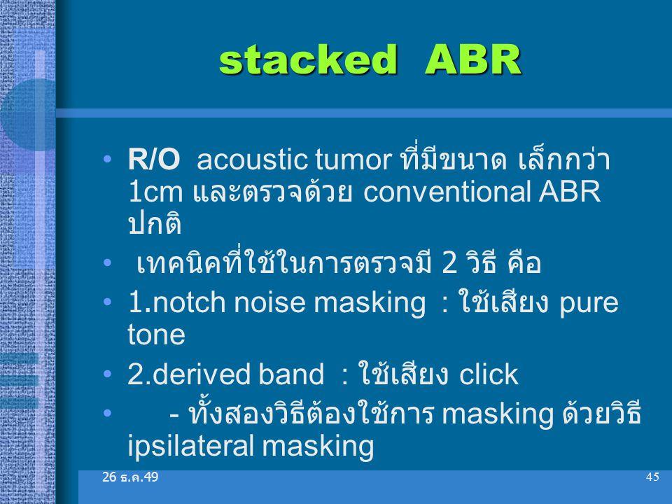 26 ธ. ค.49 45 stacked ABR R/O acoustic tumor ที่มีขนาด เล็กกว่า 1cm และตรวจด้วย conventional ABR ปกติ เทคนิคที่ใช้ในการตรวจมี 2 วิธี คือ 1.notch noise