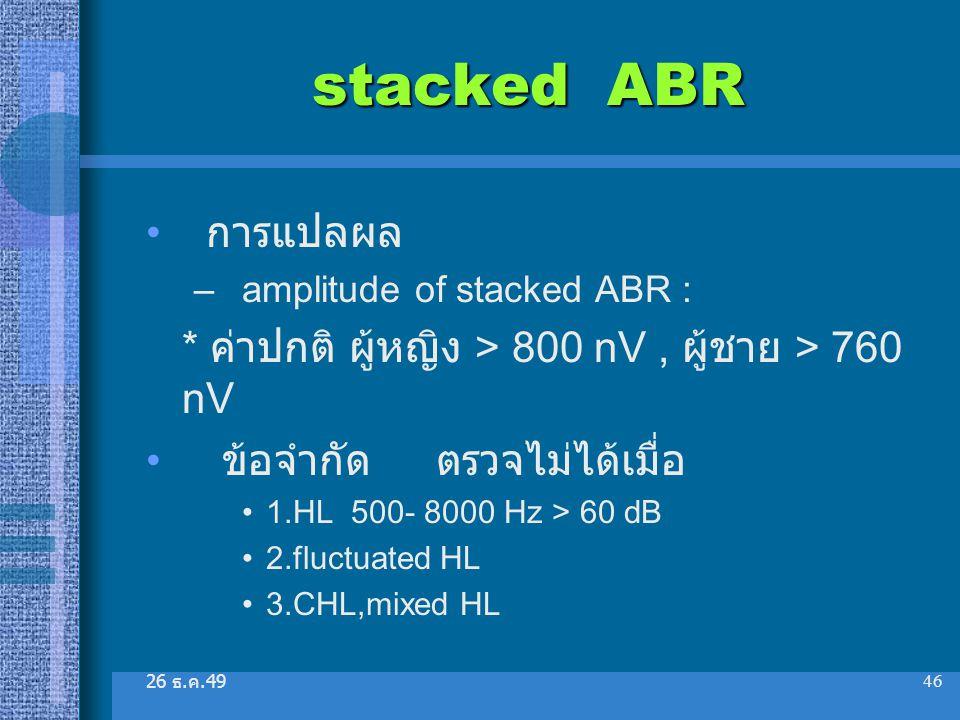 26 ธ. ค.49 46 stacked ABR การแปลผล –amplitude of stacked ABR : * ค่าปกติ ผู้หญิง > 800 nV, ผู้ชาย > 760 nV ข้อจำกัด ตรวจไม่ได้เมื่อ 1.HL 500- 8000 Hz