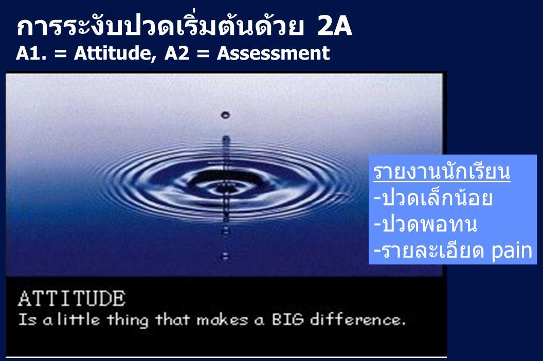 16 Revision 10, 10-26-01 การระงับปวดเริ่มต้นด้วย 2A A1. = Attitude, A2 = Assessment รายงานนักเรียน -ปวดเล็กน้อย -ปวดพอทน -รายละเอียด pain