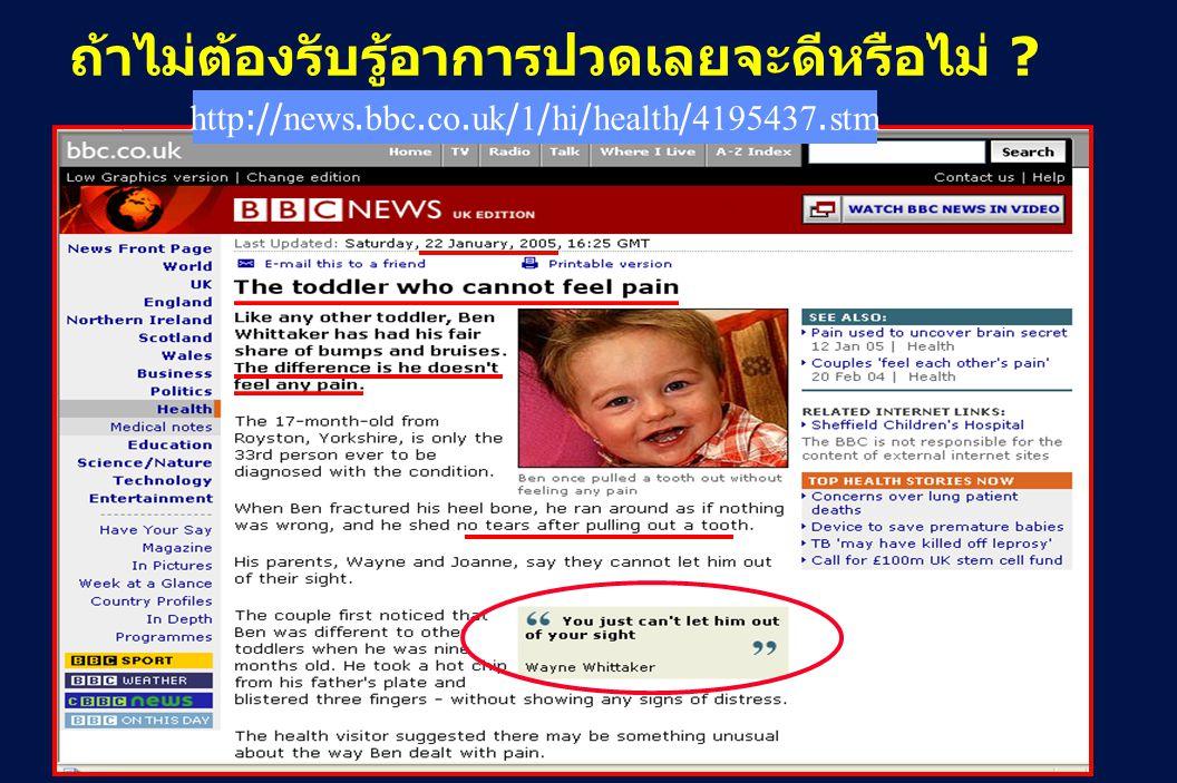 3 Revision 10, 10-26-01 ถ้าไม่ต้องรับรู้อาการปวดเลยจะดีหรือไม่ ? http://news.bbc.co.uk/1/hi/health/4195437.stm