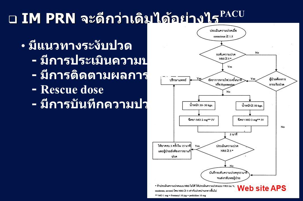  IM PRN จะดีกว่าเดิมได้อย่างไร  Web site APS มีแนวทางระงับปวด - มีการประเมินความปวด - มีการติดตามผลการรักษา - Rescue dose - มีการบันทึกความปวด PACU