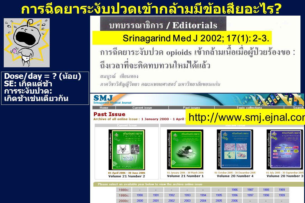 31 Revision 10, 10-26-01 Srinagarind Med J 2002; 17(1): 2-3. http://www.smj.ejnal.com Dose/day = ? (น้อย) SE: เกิดแต่ช้า การระงับปวด: เกิดช้าเช่นเดียว