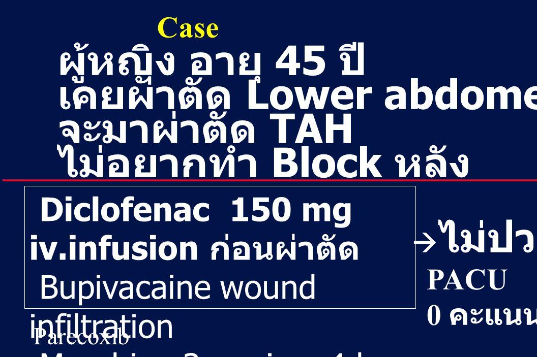 41 Revision 10, 10-26-01 ผู้หญิง อายุ 45 ปี เคยผ่าตัด Lower abdomen  ปวดมาก จะมาผ่าตัด TAH ไม่อยากทำ Block หลัง Diclofenac 150 mg iv.infusion ก่อนผ่า