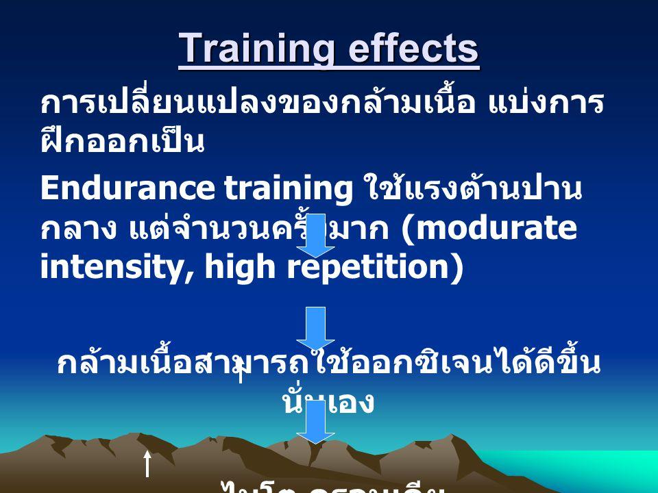 Training effects การเปลี่ยนแปลงของกล้ามเนื้อ แบ่งการ ฝึกออกเป็น Endurance training ใช้แรงต้านปาน กลาง แต่จำนวนครั้งมาก (modurate intensity, high repetition) กล้ามเนื้อสามารถใช้ออกซิเจนได้ดีขึ้น นั่นเอง ไมโต ครอนเดีย ปริมาณเส้นเลือดฝอยต่อพื้นที่ กล้ามเนื้อ