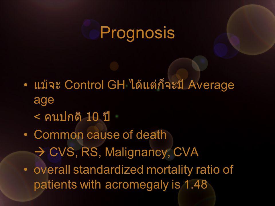 Prognosis แม้จะ Control GH ได้แต่ก็จะมี Average age < คนปกติ 10 ปี Common cause of death  CVS, RS, Malignancy, CVA overall standardized mortality rat