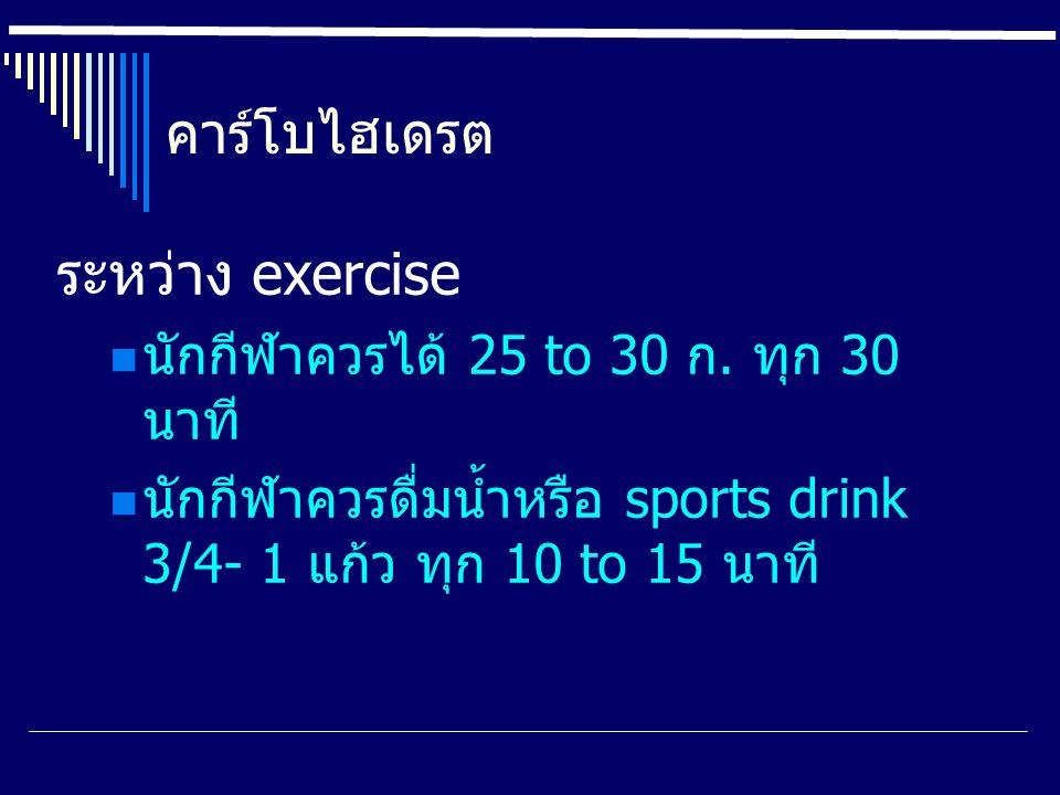 คาร์โบไฮเดรต ระหว่าง exercise นักกีฬาควรได้ 25 to 30 ก. ทุก 30 นาที นักกีฬาควรดื่มน้ำหรือ sports drink 3/4- 1 แก้ว ทุก 10 to 15 นาที