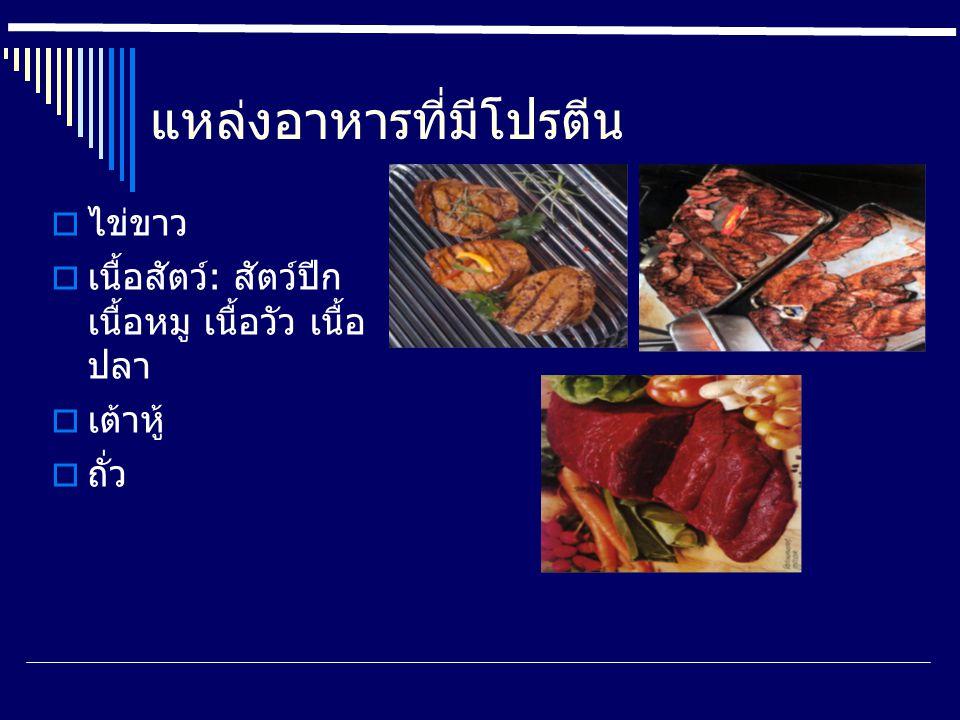 แหล่งอาหารที่มีโปรตีน  ไข่ขาว  เนื้อสัตว์: สัตว์ปีก เนื้อหมู เนื้อวัว เนื้อ ปลา  เต้าหู้  ถั่ว