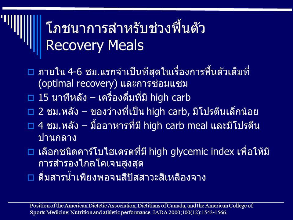 โภชนาการสำหรับช่วงฟื้นตัว Recovery Meals  ภายใน 4-6 ชม.แรกจำเป็นทีสุดในเรื่องการฟื้นตัวเต็มที่ (optimal recovery) และการซ่อมแซม  15 นาทีหลัง – เครื่องดื่มที่มี high carb  2 ชม.หลัง – ของว่างที่เป็น high carb, มีโปรตีนเล็กน้อย  4 ชม.หลัง – มื้ออาหารที่มี high carb meal และมีโปรตีน ปานกลาง  เลือกชนิดคาร์โบไฮเดรตที่มี high glycemic index เพื่อให้มี การสำรองไกลโคเจนสูงสุด  ดื่มสารน้ำเพียงพอจนสีปัสสาวะสีเหลืองจาง Position of the American Dietetic Association, Dietitians of Canada, and the American College of Sports Medicine: Nutrition and athletic performance.