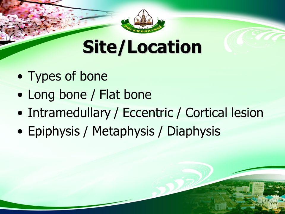 Site/Location Types of bone Long bone / Flat bone Intramedullary / Eccentric / Cortical lesion Epiphysis / Metaphysis / Diaphysis