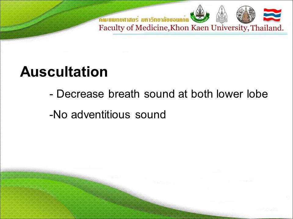 Auscultation - Decrease breath sound at both lower lobe -No adventitious sound