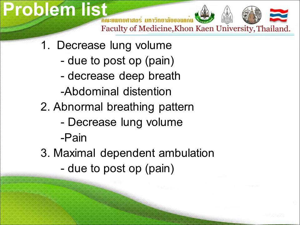 Problem list 1. Decrease lung volume - due to post op (pain) - decrease deep breath -Abdominal distention 2. Abnormal breathing pattern - Decrease lun