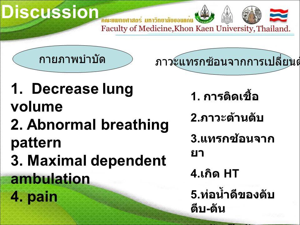 Discussion กายภาพบำบัด 1. Decrease lung volume 2. Abnormal breathing pattern 3. Maximal dependent ambulation 4. pain ภาวะแทรกซ้อนจากการเปลี่ยนตับ 1. ก