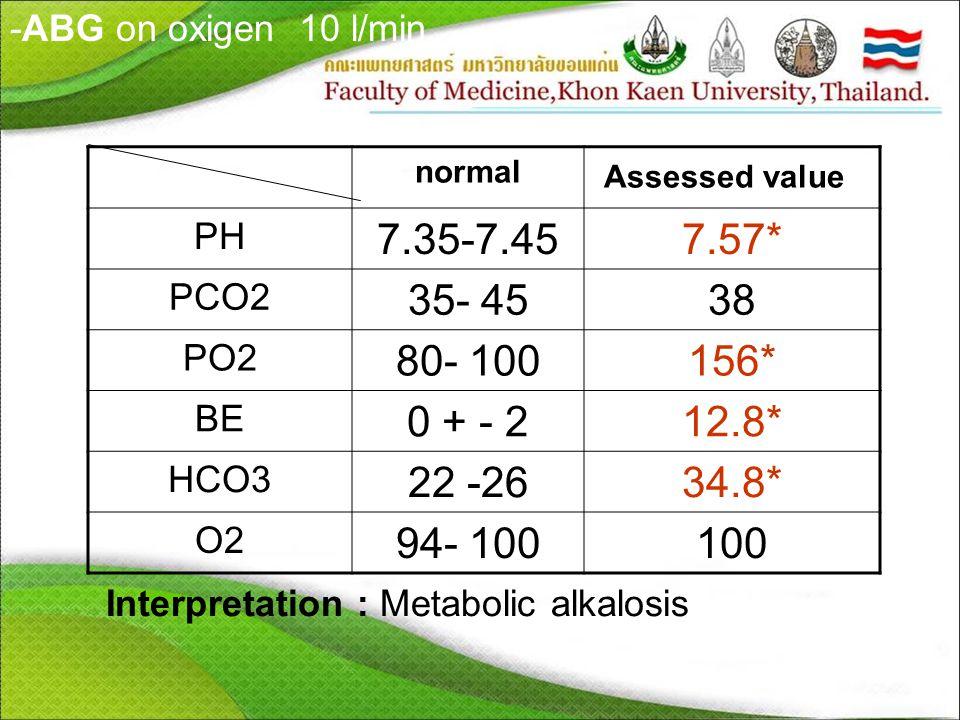 -ABG on oxigen 10 l/min normal Assessed value PH 7.35-7.457.57* PCO2 35- 4538 PO2 80- 100156* BE 0 + - 212.8* HCO3 22 -2634.8* O2O2 94- 100100 Interpretation : Metabolic alkalosis