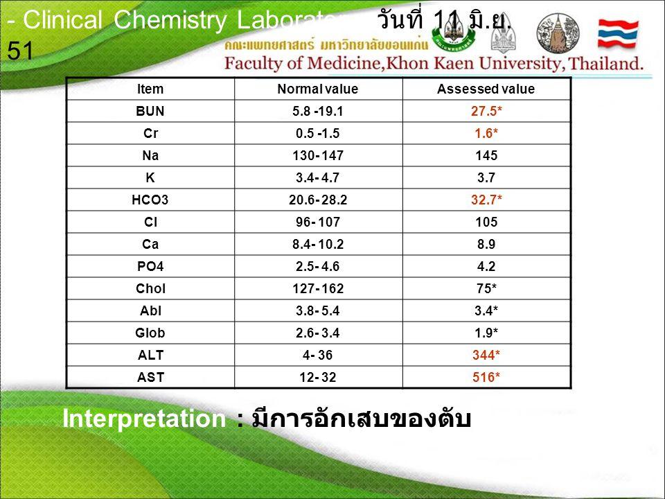 - Clinical Chemistry Laboratory วันที่ 11 มิ.ย.