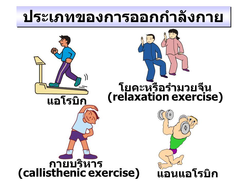 ประเภทของการออกกำลังกาย แอโรบิก กายบริหาร (callisthenic exercise) โยคะหรือรำมวยจีน (relaxation exercise) แอนแอโรบิก