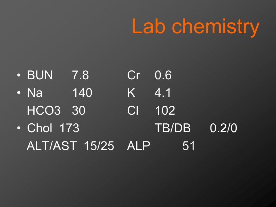 Lab chemistry BUN7.8Cr0.6 Na140K4.1 HCO330Cl102 Chol 173TB/DB0.2/0 ALT/AST 15/25ALP51