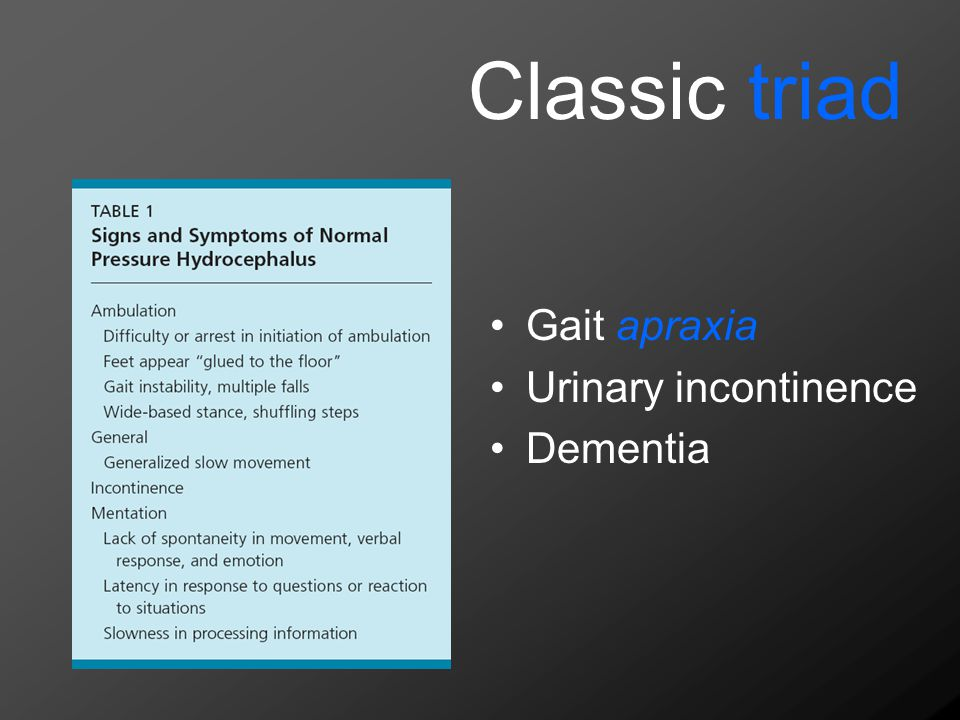 Classic triad Gait apraxia Urinary incontinence Dementia