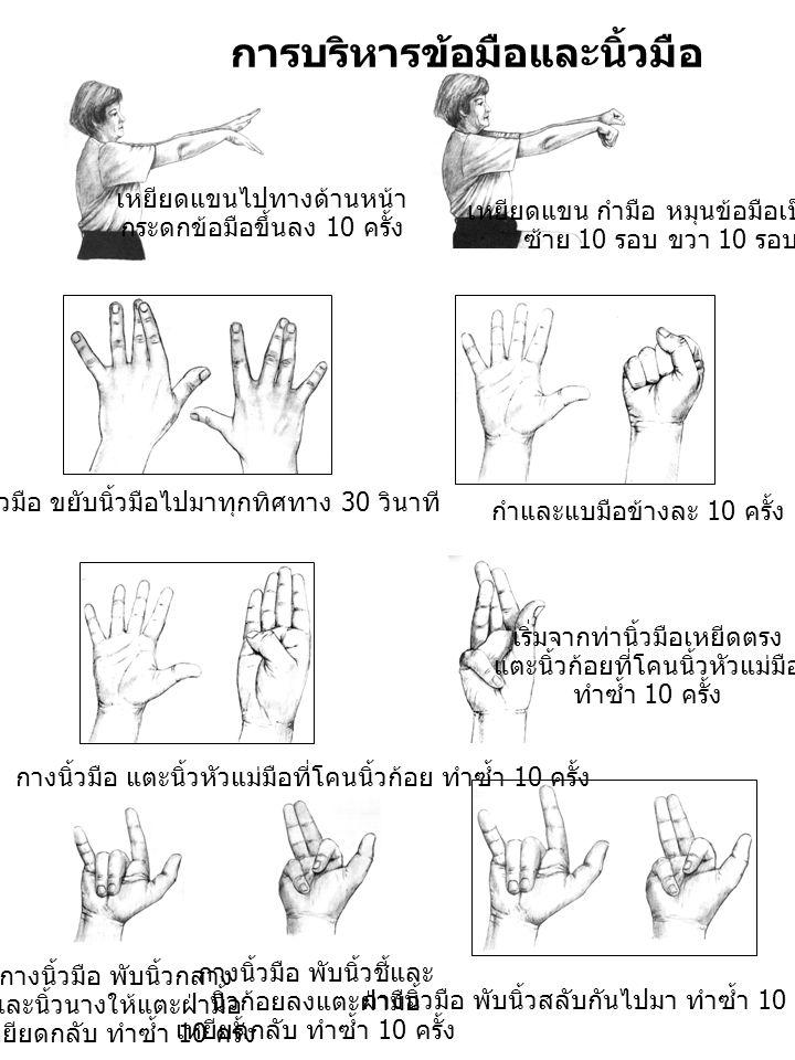 เหยียดแขนไปทางด้านหน้า กระดกข้อมือขึ้นลง 10 ครั้ง เหยียดแขน กำมือ หมุนข้อมือเป็นวง ซ้าย 10 รอบ ขวา 10 รอบ การบริหารข้อมือและนิ้วมือ กางนิ้วมือ ขยับนิ้