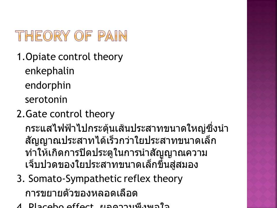 1.Opiate control theory enkephalin endorphin serotonin 2.Gate control theory กระแสไฟฟ้าไปกระตุ้นเส้นประสาทขนาดใหญ่ซึ่งนำ สัญญาณประสาทได้เร็วกว่าใยประส
