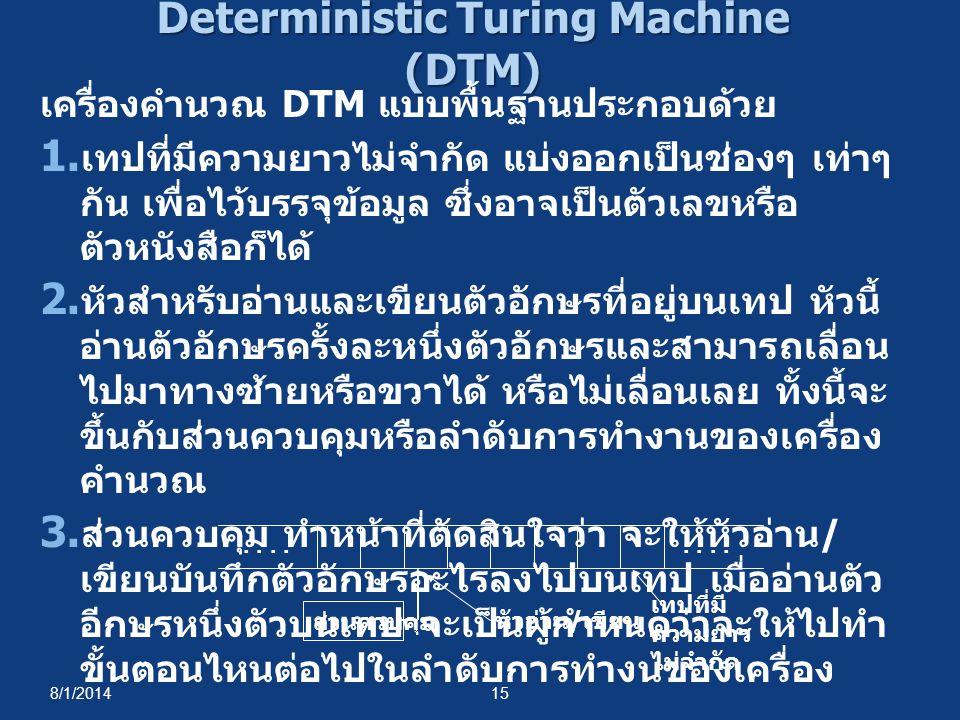 8/1/201415 Deterministic Turing Machine (DTM) เครื่องคำนวณ DTM แบบพื้นฐานประกอบด้วย 1. เทปที่มีความยาวไม่จำกัด แบ่งออกเป็นช่องๆ เท่าๆ กัน เพื่อไว้บรรจ