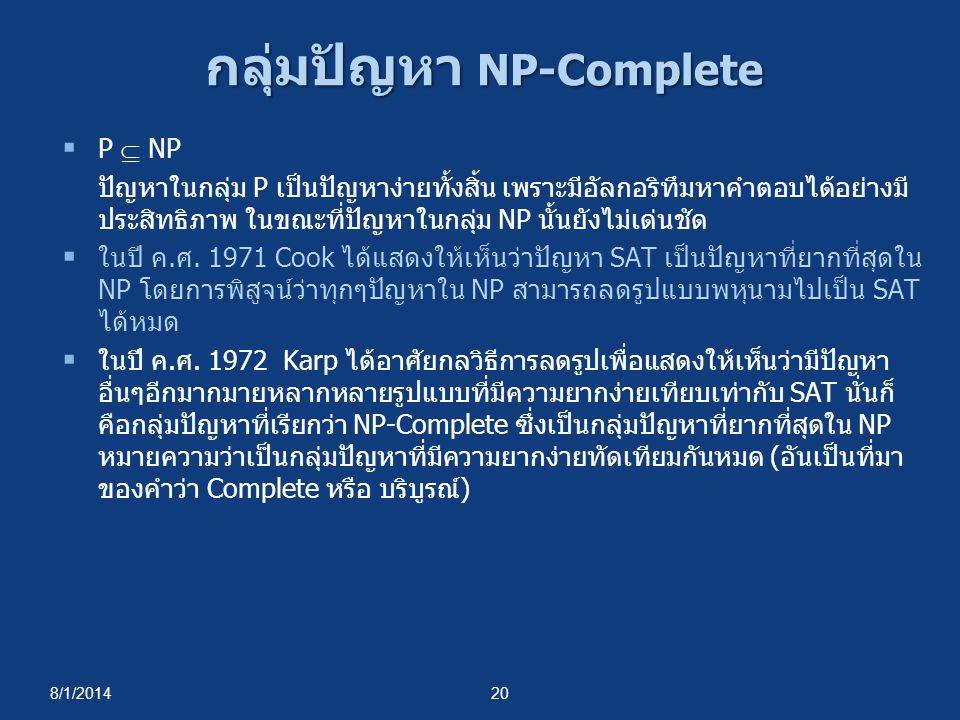 8/1/201420 กลุ่มปัญหา NP-Complete  P  NP ปัญหาในกลุ่ม P เป็นปัญหาง่ายทั้งสิ้น เพราะมีอัลกอริทึมหาคำตอบได้อย่างมี ประสิทธิภาพ ในขณะที่ปัญหาในกลุ่ม NP