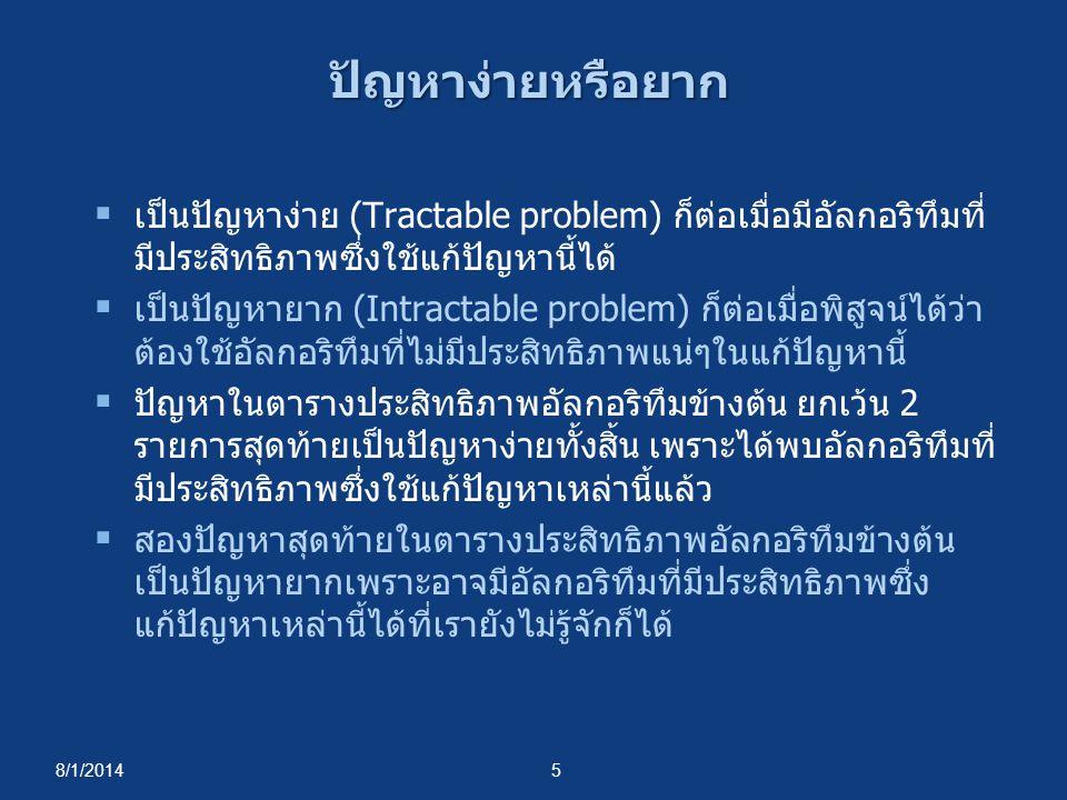 8/1/20145 ปัญหาง่ายหรือยาก  เป็นปัญหาง่าย (Tractable problem) ก็ต่อเมื่อมีอัลกอริทึมที่ มีประสิทธิภาพซึ่งใช้แก้ปัญหานี้ได้  เป็นปัญหายาก (Intractabl