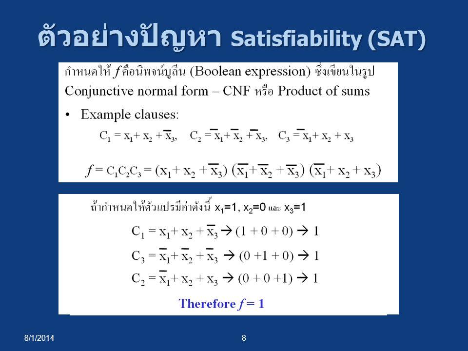 8/1/20148 ตัวอย่างปัญหา Satisfiability (SAT)
