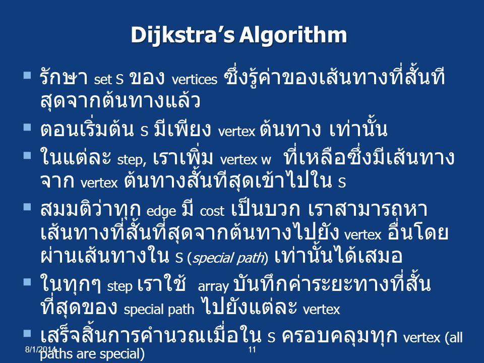 8/1/201411 Dijkstra's Algorithm  รักษา set S ของ vertices ซึ่งรู้ค่าของเส้นทางที่สั้นที สุดจากต้นทางแล้ว  ตอนเริ่มต้น S มีเพียง vertex ต้นทาง เท่านั