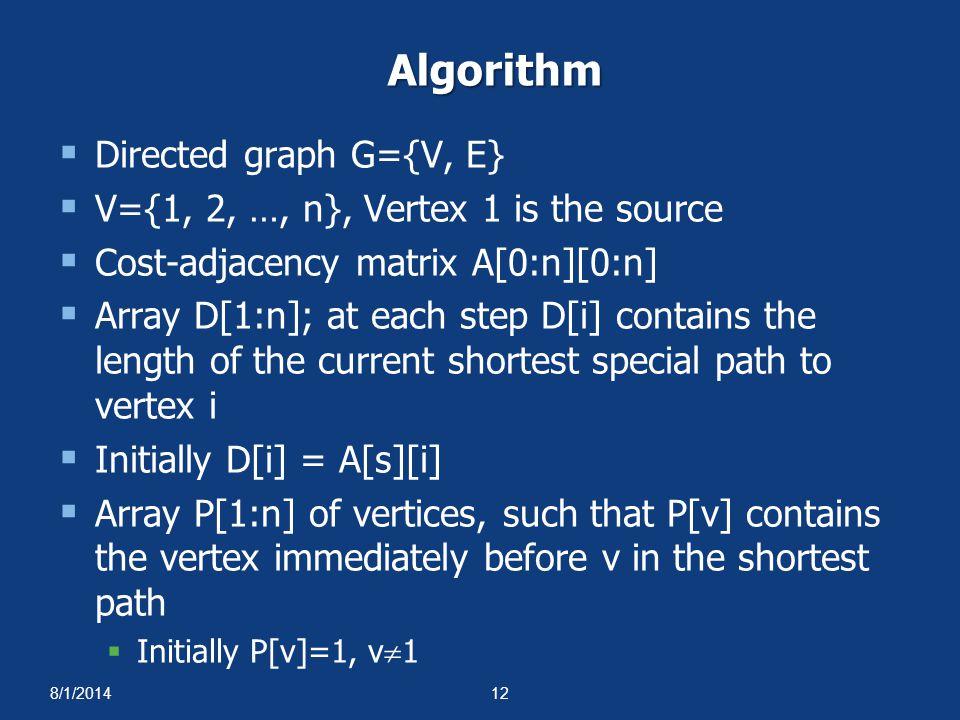 8/1/201412 Algorithm  Directed graph G={V, E}  V={1, 2, …, n}, Vertex 1 is the source  Cost-adjacency matrix A[0:n][0:n]  Array D[1:n]; at each st