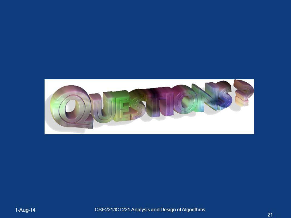 1-Aug-14 21 CSE221/ICT221 Analysis and Design of Algorithms