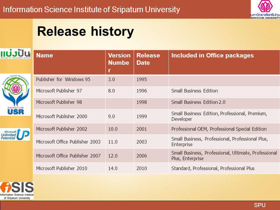 SPU Information Science Institute of Sripatum University โปรแกรม Microsoft Publisher ทำอะไรได้บ้าง แผ่นพับ (Brochure) ป้ายประกาศต่าง ๆ (Signs) ปฏิทิน (Calendars) นามบัตร (Business Card) ป้ายโฆษณายาว ๆ (Banner) บัตรอวยพรในโอกาสต่าง ๆ (Greeting Cards) ฯลฯ