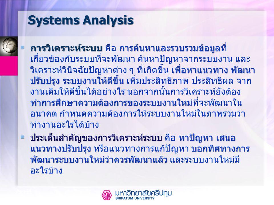 11 Aug-14 Systems Analysis  การวิเคราะห์ระบบ การค้นหาและรวบรวมข้อมูล เพื่อหาแนวทาง พัฒนา ปรับปรุง ระบบงานให้ดีขึ้น ทำการศึกษาความต้องการของระบบงานใหม