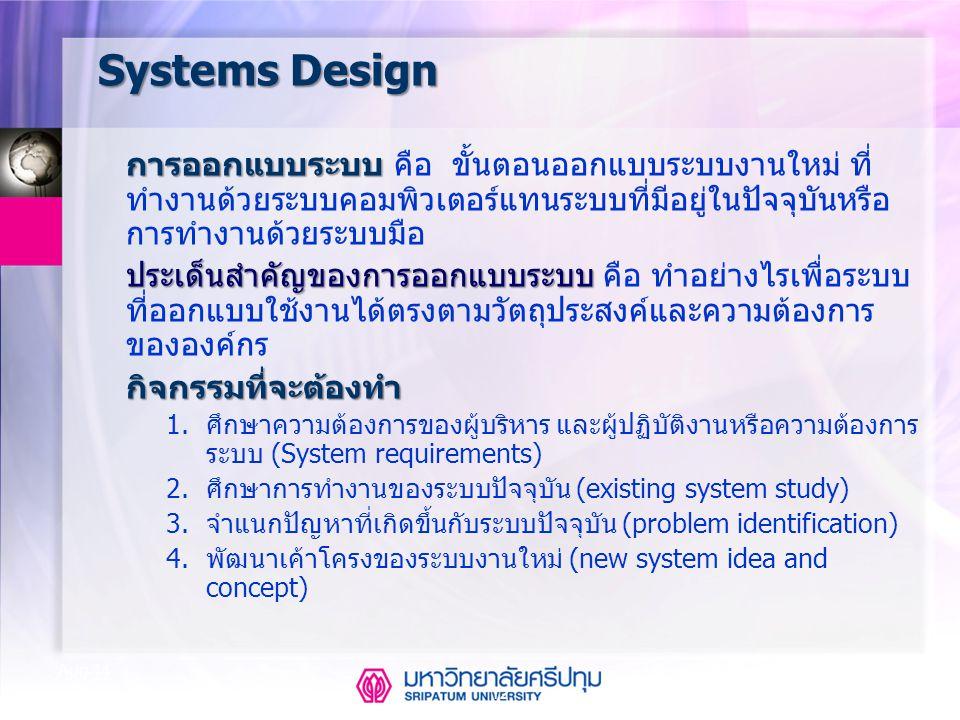12 Aug-14 Systems Design การออกแบบระบบ การออกแบบระบบ คือ ขั้นตอนออกแบบระบบงานใหม่ ที่ ทำงานด้วยระบบคอมพิวเตอร์แทนระบบที่มีอยู่ในปัจจุบันหรือ การทำงานด