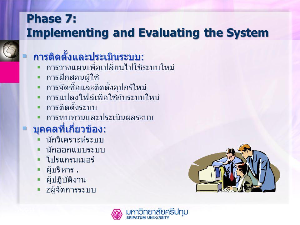 28 Aug-14 Phase 7: Implementing and Evaluating the System  การติดตั้งและประเมินระบบ:  การวางแผนเพื่อเปลี่ยนไปใช้ระบบใหม่  การฝึกสอนผู้ใช้  การจัดซ