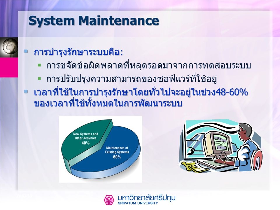 29 Aug-14 System Maintenance  การบำรุงรักษาระบบคือ:  การขจัดข้อผิดพลาดที่หลุดรอดมาจากการทดสอบระบบ  การปรับปรุงความสามารถของซอฟ์แวร์ที่ใช้อยู่  เวล