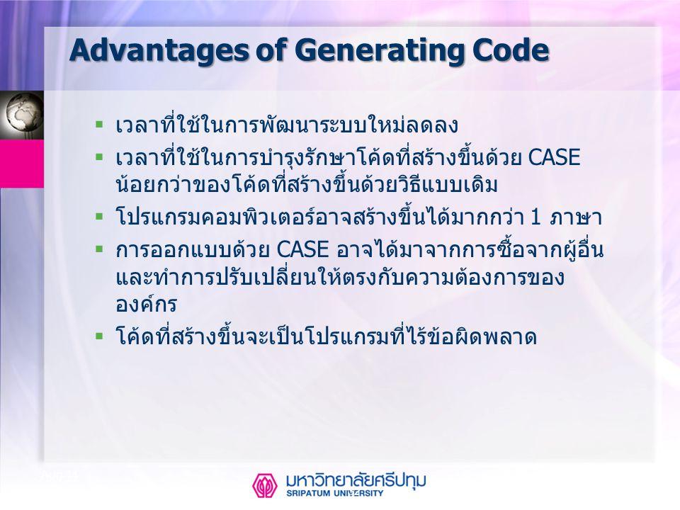 32 Aug-14 Advantages of Generating Code  เวลาที่ใช้ในการพัฒนาระบบใหม่ลดลง  เวลาที่ใช้ในการบำรุงรักษาโค้ดที่สร้างขึ้นด้วย CASE น้อยกว่าของโค้ดที่สร้า