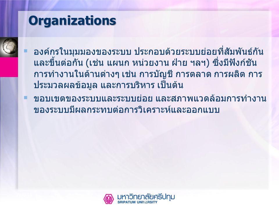 36 Aug-14 Organizations  องค์กรในมุมมองของระบบ ประกอบด้วยระบบย่อยที่สัมพันธ์กัน และขึ้นต่อกัน (เช่น แผนก หน่วยงาน ฝ่าย ฯลฯ) ซึ่งมีฟังก์ชัน การทำงานใน