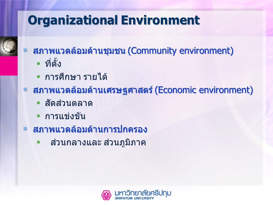 37 Aug-14 Organizational Environment  สภาพแวดล้อมด้านชุมชน (Community environment)  ที่ตั้ง  การศึกษา รายได้  สภาพแวดล้อมด้านเศรษฐศาสตร์ (Economic