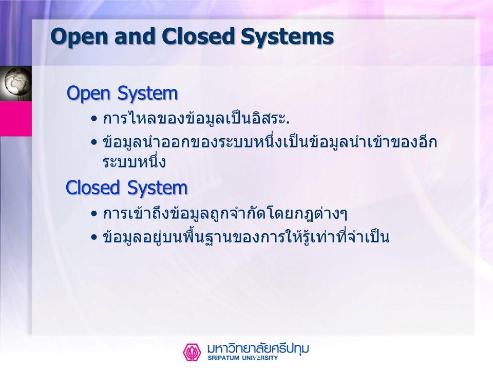 38 Aug-14 Open and Closed Systems Open System การไหลของข้อมูลเป็นอิสระ. ข้อมูลนำออกของระบบหนึ่งเป็นข้อมูลนำเข้าของอีก ระบบหนึ่ง Closed System การเข้าถ