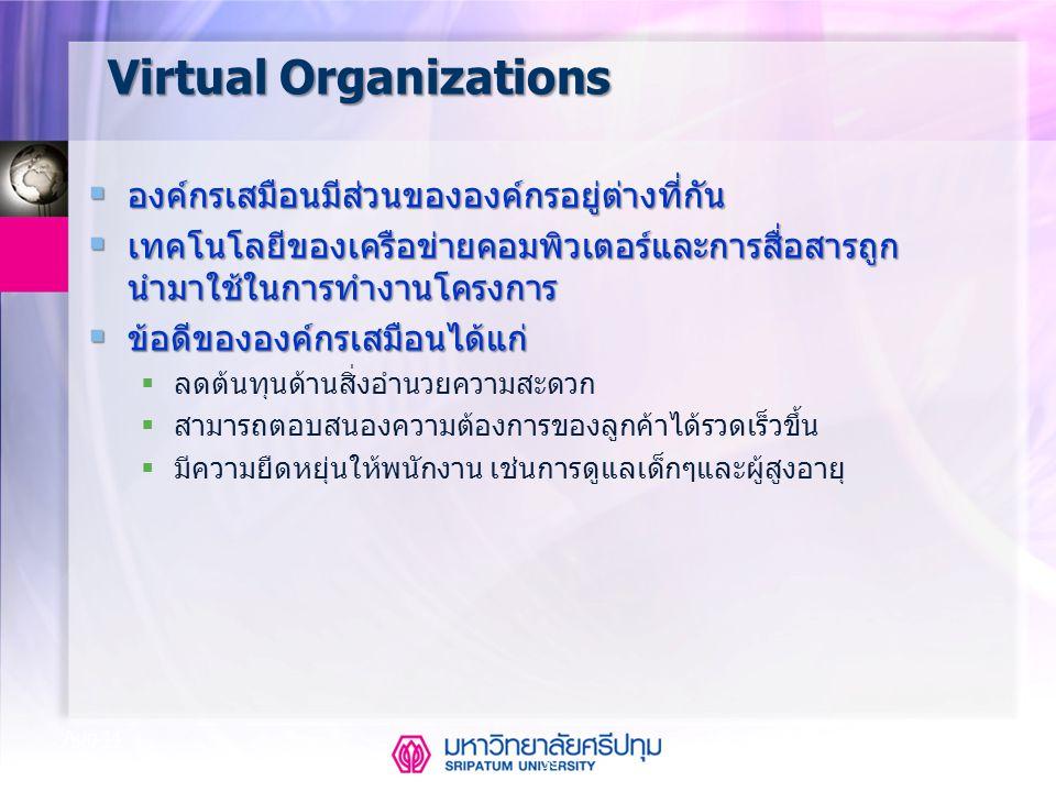 39 Aug-14 Virtual Organizations  องค์กรเสมือนมีส่วนขององค์กรอยู่ต่างที่กัน  เทคโนโลยีของเครือข่ายคอมพิวเตอร์และการสื่อสารถูก นำมาใช้ในการทำงานโครงกา