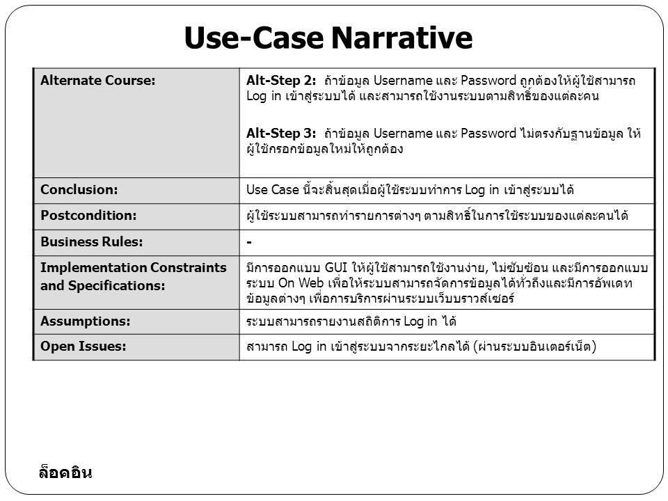 Typical Course of Event Actor ActionSystem Response Step 1: ผู้ใช้ระบบเลือก ประเภทของรายงานที่ ต้องการ Step 2: ระบบตรวจสอบว่ามีข้อมูลรายงานตามประเภทที่ผู้ใช้ กำหนดหรือไม่ในฐานข้อมูลคลังยา Step 3: ระบบทำการตรวจสอบความถูกต้องของข้อมูล Step 4: ระบบทำการดึงข้อมูลรายงานตามประเภทรายงานที่ ผู้ใช้เลือก ขึ้นมาแสดงในแบบฟอร์มรายงานนั้นๆ Step 5: ระบบส่งคำสั่งพิมพ์รายงานออกทางเครื่องพิมพ์ได้ ตามรายการที่ผู้ใช้เลือก เช่น รายงานสถานะยาในคลังยา แยก ตามวันที่, ประเภท, เรียงลำดับวันหมดอายุ, รายงานการจ่ายยา แต่และชนิด, รายงานการจ่ายยาประจำวัน, ประจำเดือน เป็นต้น Use-Case Narrative พิมพ์รายงาน