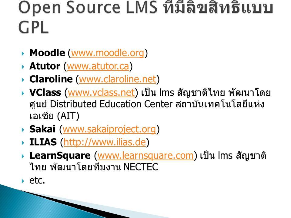  Moodle (www.moodle.org)www.moodle.org  Atutor (www.atutor.ca)www.atutor.ca  Claroline (www.claroline.net)www.claroline.net  VClass (www.vclass.net) เป็น lms สัญชาติไทย พัฒนาโดย ศูนย์ Distributed Education Center สถาบันเทคโนโลยีแห่ง เอเซีย (AIT)www.vclass.net  Sakai (www.sakaiproject.org)www.sakaiproject.org  ILIAS (http://www.ilias.de)http://www.ilias.de  LearnSquare (www.learnsquare.com) เป็น lms สัญชาติ ไทย พัฒนาโดยทีมงาน NECTECwww.learnsquare.com  etc.